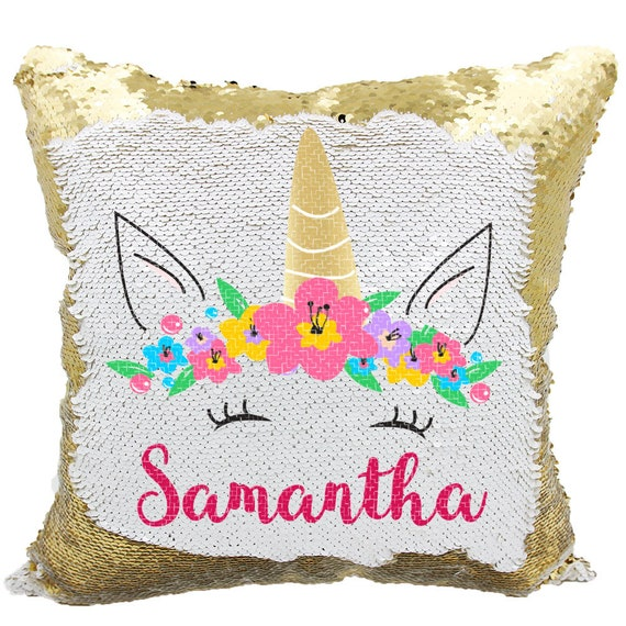 unicorn sequin pillow personalized unicorn mermaid sequins etsy