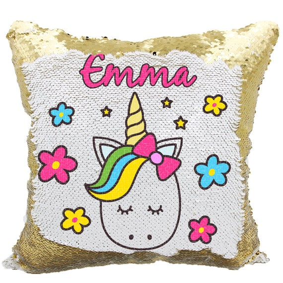 Unicorn Sequin Pillow Personalized Cute Unicorn Mermaid Etsy