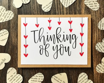 Set of 5 Thinking of You Cards - Handmade Rustic Calligraphy Cards with Red Hearts