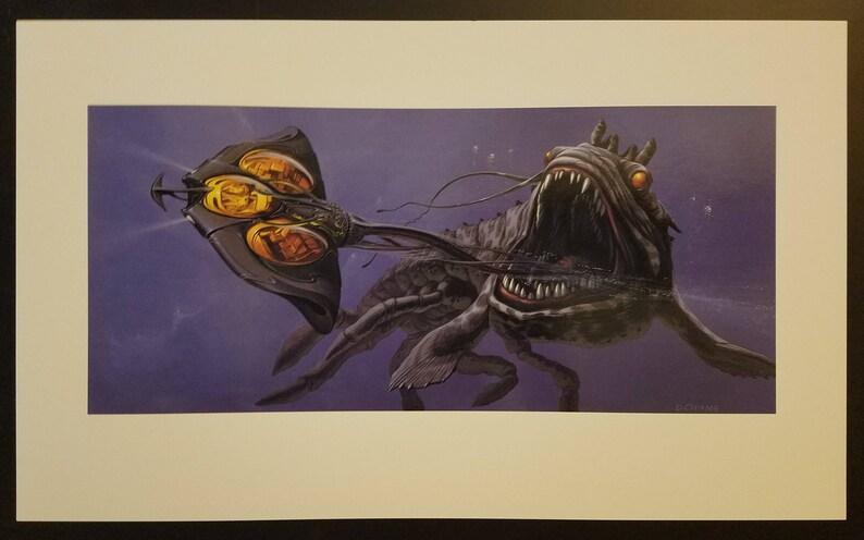 Vintage 1999 Star Wars The Phantom Menace Gungan Sub Escape by Doug Chiang 10.5 x 17.5 Production Art Lithograph