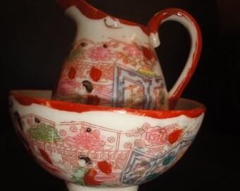 cute japanese jug & bowl  jug size 9cm   bowl size dia 10cm height=6cm