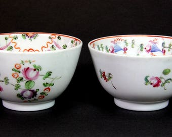 Two 18th century Chinese hand painted porcelain tea bowls, Dia. 8cm, H. 4.8cm
