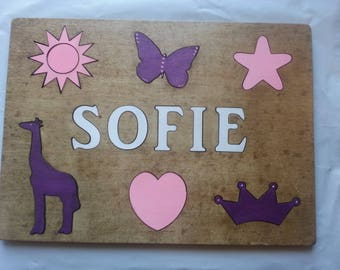 Wooden CHILDS NAME Puzzle W CUSTOM Symbols