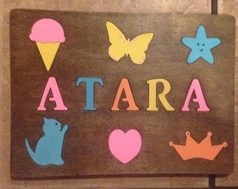 Custom Childs NAME PUZZLES -  1st Birthday gift, baby shower, Wooden toddler girls birthday, one / two year old little boys present