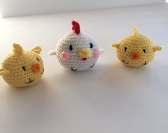 Amigurumi Mother Hen and Chicks, Plush Hen and Chicks, Crocheted Hen and Chicks, Hen and Chicks Plushies, Stuffed Hen and Chicks