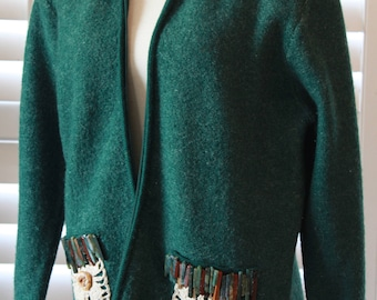 Woman wool Jacket with beaded and lace embelishments