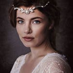 Silver Daisy Floral Pearl Ivory Forehead Band, White Silver Tiara Flower Crown Bridal Headpiece, Silver Floral Hair Vine, Augusta GD180113