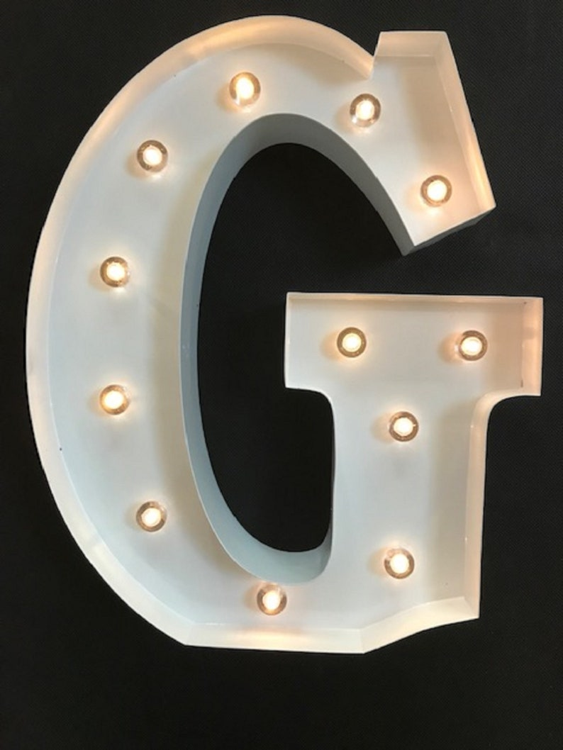 G /& T WALL OR FREE STANDING 13 INCH LED LIGHT CARNIVAL   RUST  METAL LETTERS