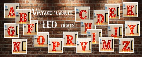 WALL OR FREE STANDING 13INCH LED LIGHT CARNIVAL CIRCUS  RED METAL WORD BAR