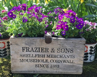 Genuine Wooden Vintage Cornish Fish Crate - Frazier & Son Mousehole - Wine Carrier or Plant Pot Holder