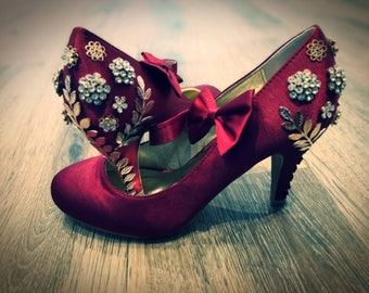 ca70e6362 Stunning metal and rhinestone flower and Leaf detailed Red Mary Jane s.  Available in other colours and shoe styles