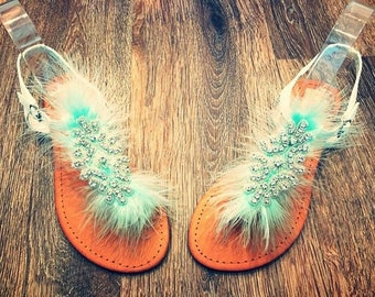 Feather & Rhinestone Sandals *Feathers available in any colours*