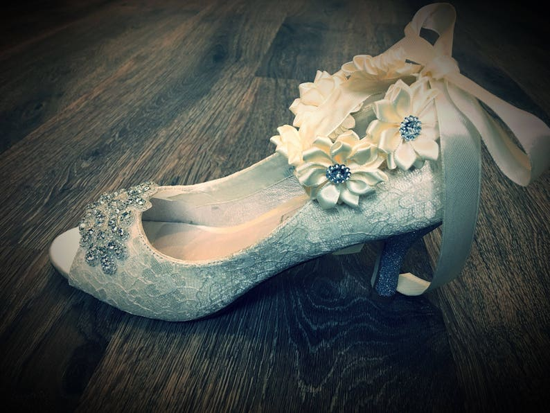 d35331cc94b9 Low Heel Ivory Lace Covered Peep Toes with Rhinestone