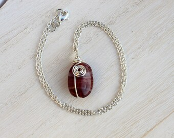 Brown Glass Wired Bead Necklace