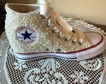 04440f618b71 Bridal Wedge Converse Sneakers   Bride   Custom shoes   wedding  bling    bedazzled   pearls   sweet 16   quinceanera