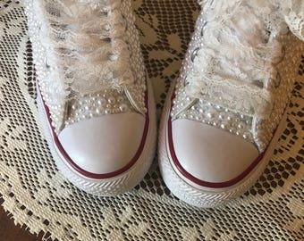 5aa20b6abe3bcf Bride Converse Shoes   Sneakers   Wedge Heel   Bridal  Bling