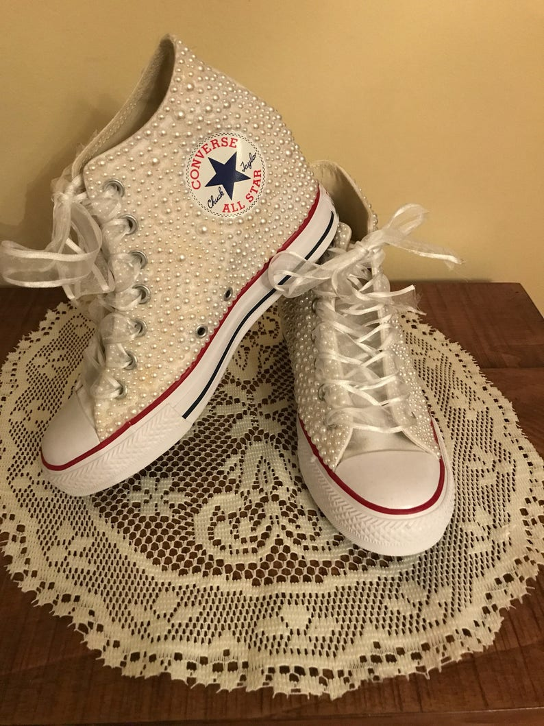 aa9a8fbb1e73 Bridal Wedding Converse Wedge Sneakers