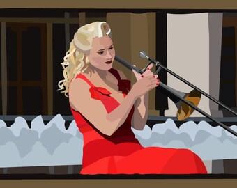 "8"" x 12"" ""The Girl With The Trumpet"" Original Digital Art Print"