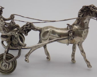 Vintage Solid Sterling Silver 925 Italian Made Racing Horse Miniature, Stamped