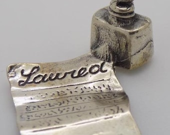 Vintage Solid Silver Italian Made Paper and Pen Miniature, Figurine, Stamped*