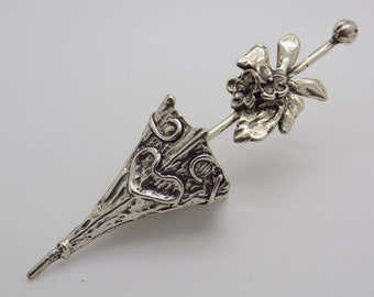 Vintage Solid Silver Italian Made Parasol LARGE Miniature, Figurine, Stamped