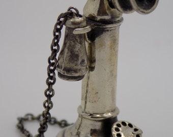 Vintage Solid Sterling Silver 925 Italian Made RARE Phone Miniature, Figurine