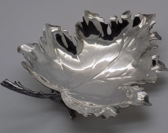 Vintage Solid Sterling Silver 925 Italian Made REAL LIFE SIZE Leaf, Stamped