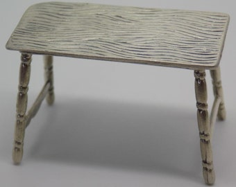 Vintage Solid Sterling Silver 925 Dollhouse Table Miniature, Figurine, Stamped