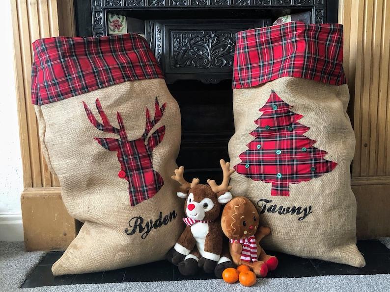 XL personalised Christmas sack santa sack with name hessian red tartan