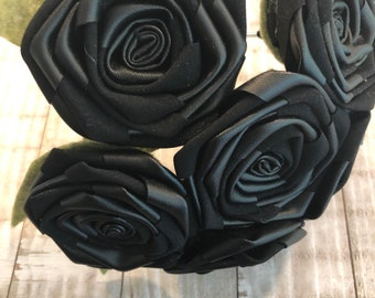"3.5/"" Gothic Jet Black Carnation Artificial Silk Flower BROOCH Pin Wedding"
