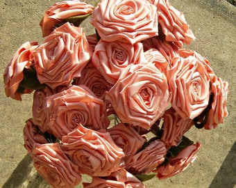 Peach Flowers, RTS, Peach Wedding Decor, Peach Fabric Flowers, Artificial Flowers, Fabric Bouquet, Fabric Rose, Peach Bouquet, Mothers Day
