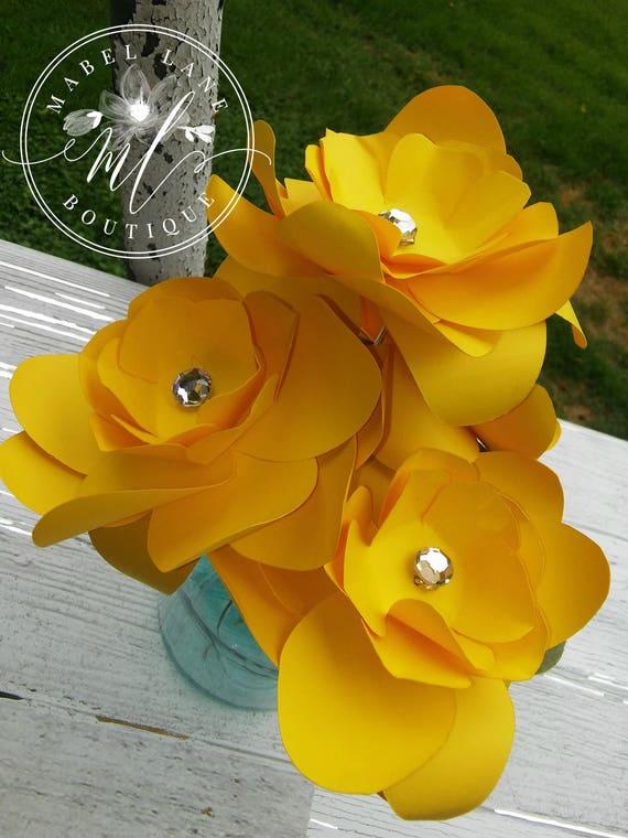 Paper gardenia 6 yellow paper gardenia paper flower yellow etsy image 0 mightylinksfo