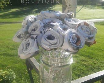 Camo Fabric Rose, White Snow Camo Rosebuds, Fall Wedding Flowers, Rustic Wedding, Fall Bride Bouquet, Camo Rose, Camo Wedding Decor