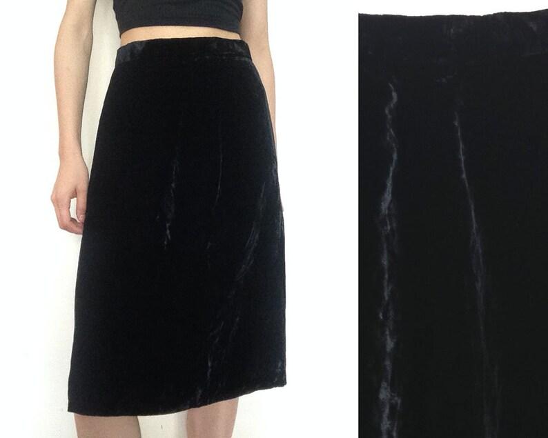 Mermaid Skirt Black Satin Skirt Vintage Gown Skirt Little Black Skirt Classic Ruffle Skirt Size XS  S Isla Evening Skirt