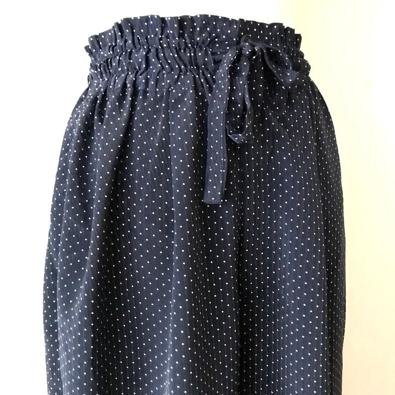 elastic waist trousers Petite  size XS Nellie Navy blue high rise pants drawstring pants