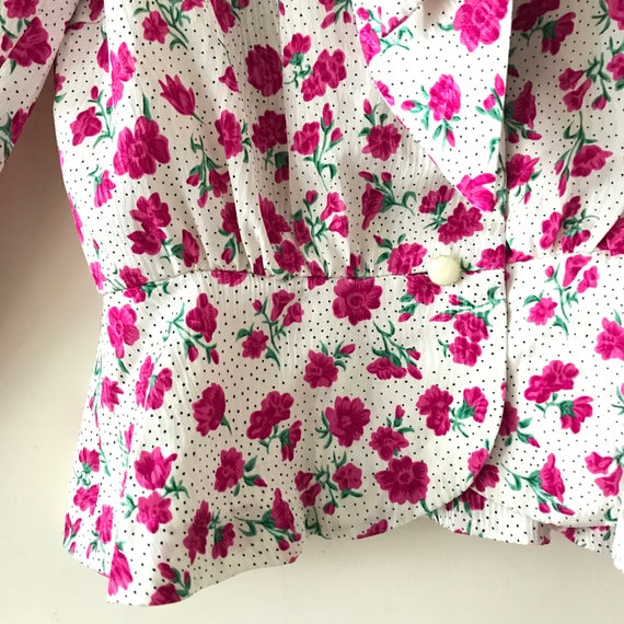 Size XS Petite Vintage 1950s Floral Romper Playsuit with Matching Blouse