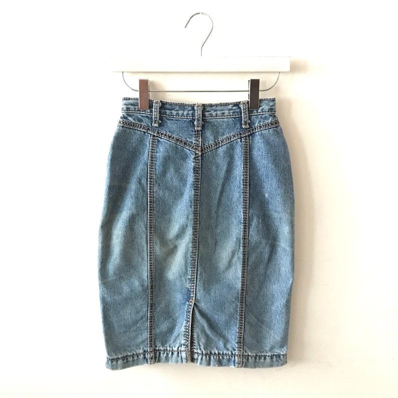 Vintage Jeans Denim Skirt 90s Clothing Waist 28 Western Skirt High Waisted Denim Skirt Size XSS Aevia Vintage Pencil Skirt
