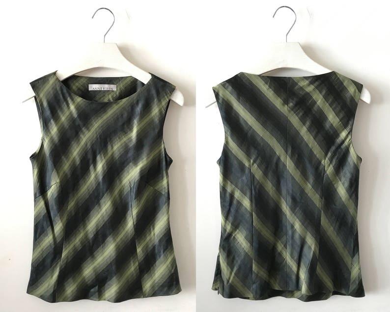 1b9b409c Striped Silk Tank Top S / M Andrea olive green hue | Etsy