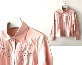 """1980s pink blouse XS / S """"Sofie"""" cut out embroidery vintage blouse shirt, pink long sleeve vintage peplum blouse, us size 4 6, 80s clothing"""