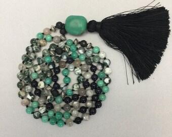 Tree Agate, Goldstone, Aventurine & Moonstone Mala Necklace for Meditation