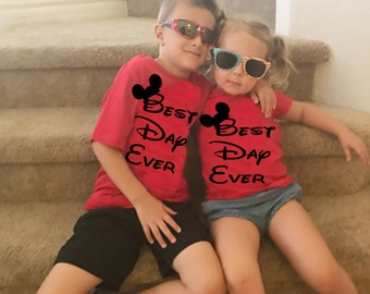 Kids Matching Disney Best Day Mickey Mouse Shirts for Boys and Girl's Adorable Shirts to Wear on your Disneyland and Disney World Vacation