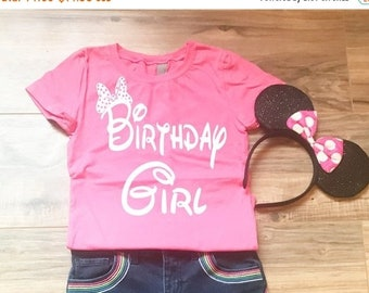 CLEARANCE Disney Girl's Birthday Girls Princess Shirt - Birthday Girl with Minnie Mouse Bow  perfect for Disneyland or Disney World