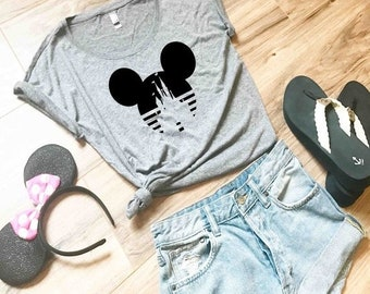 138bdb51fe1f20 FLASH SALE Women s Dolman Disney Shirt - Mickey Mouse Castle shirt with  Stripes Perfect for a Trip to Disneyland or World - Ladies Shirt