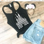 CLEARANCE EVENT Women's Disney Fitted Tank Top - Striped Magic Kingdom / Disneyland Castle - Perfect for Disneyland or Disney World Trip