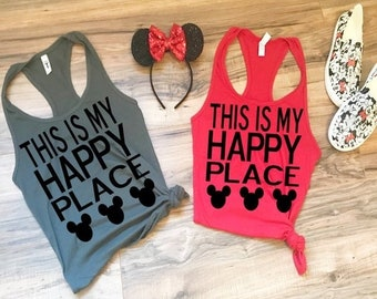 8c02c420a2f76d FLASH SALE Women s Disney Shirt - This is My Happy Place with Mickey Mouse  Ears - Cute Ladies Tank Top Funny Shirt for trip to Disneyland or