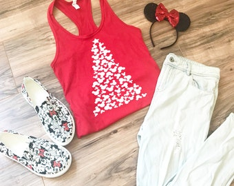 0f685efbec Women s Disney Christmas Shirt - Mickey Mouse Christmas Tree Fitted  Racerback Tank Top - Perfect for Trip to Disney