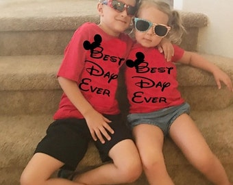 CLEARANCE Kids Matching Disney Best Day Mickey Mouse Shirts for Boys and Girl's Adorable Shirts to Wear on your Disneyland and Disney World