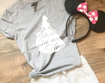 """CLEARANCE Disney Shirt for Beauty and the Beast Belle Disney Princess """"Tale as old as Time"""" Cute Kids Princess Shirt for Disneyland or Disne"""