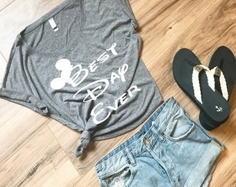 CLEARANCE Disney Women's Shirt Best Day Ever with Mickey Mouse Ears Funny Top to Wear to Disneyland or Disney World for your Family Trip