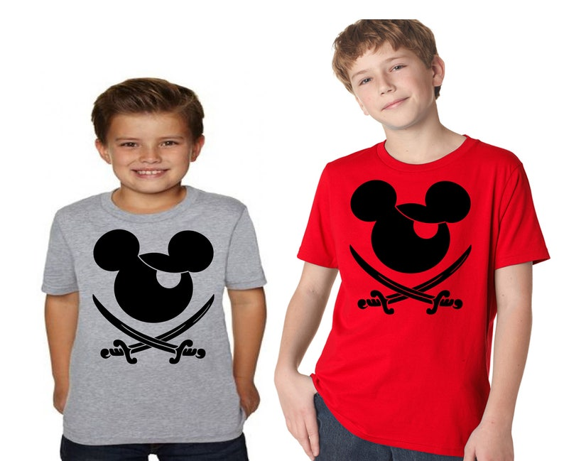 Boy's Disney Shirt Mickey Mouse Pirate great for a fan of the Pirates of  the Caribbean ride Kids T Shirt in Heather Gray great for Disney